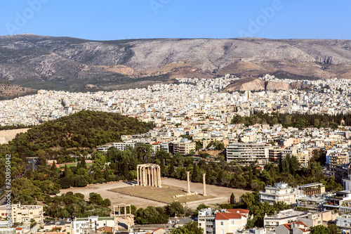 A panoramic view of the city of Athens around the Temple of Zeus. Canvas Print