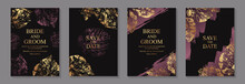Set Of Luxury Floral Wedding Invitation Design Or Greeting Card Templates With Golden And Purple Leaves Prints On A Black Background.