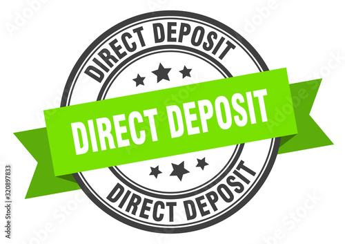 Fototapeta direct deposit label. direct depositround band sign. direct deposit stamp obraz