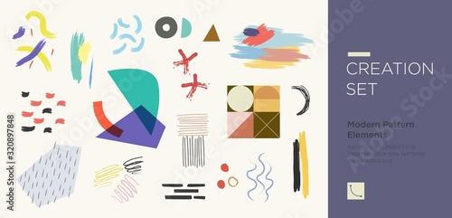 Slika na platnu Set of abstract trendy hand drawn shapes and design elements