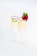 Fresh strawberries and champagne glasses