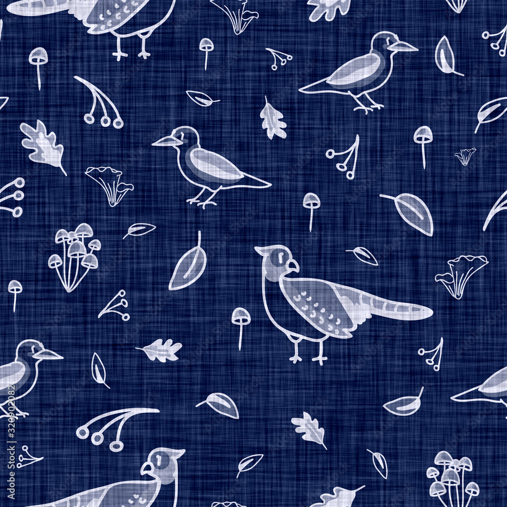 Fototapeta Indigo blue batik winged bird dyed effect texture background. Seamless japanese repeat pattern swatch. Rose motif wax resist dye. Floral asian fusion all over kimono textile. Worn boro cloth print