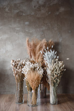 Dried Flowers In A Vase Against A Gray Wall