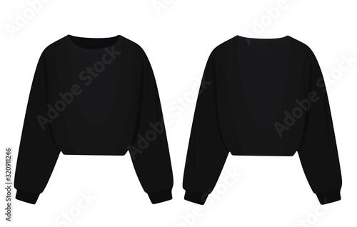 Long sleeve black blouse. vector illustration