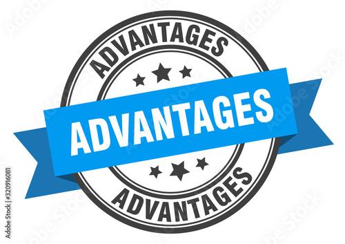 advantages label. advantagesround band sign. advantages stamp Canvas Print