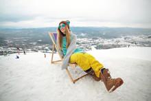 Snowboarder Woman At Winter Mo...