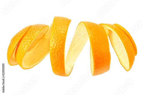 Cuadros en Lienzo fresh orange peel isolated on white background