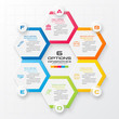 Vector illustration with 6 options,Template for graphs and diagrams,Hexagon infographic.