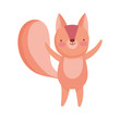 cute squirrel cartoon character on white background