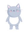 cute little cat cartoon character on white background
