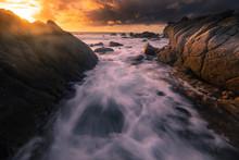 Monterey Coast At Sunset, California, United States.