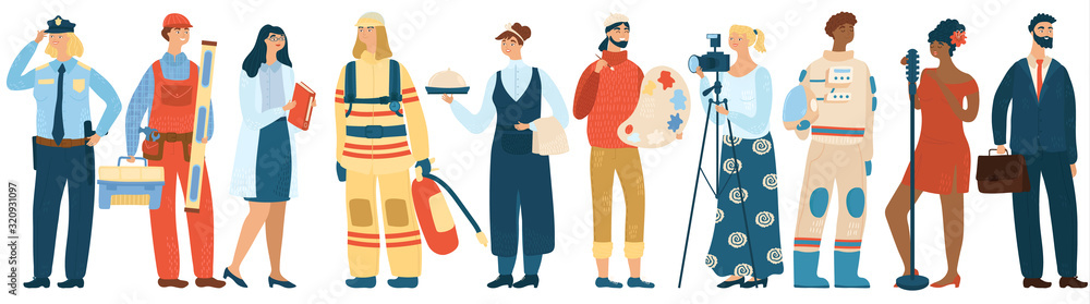 Fototapeta People of different professions, cartoon characters vector illustration. Men and women specialists in uniform, professional work career. Police officer, fireman, builder, waiter and artist painter