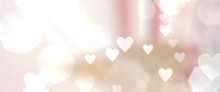 Pink Wallpaper With Unfocused Hearts