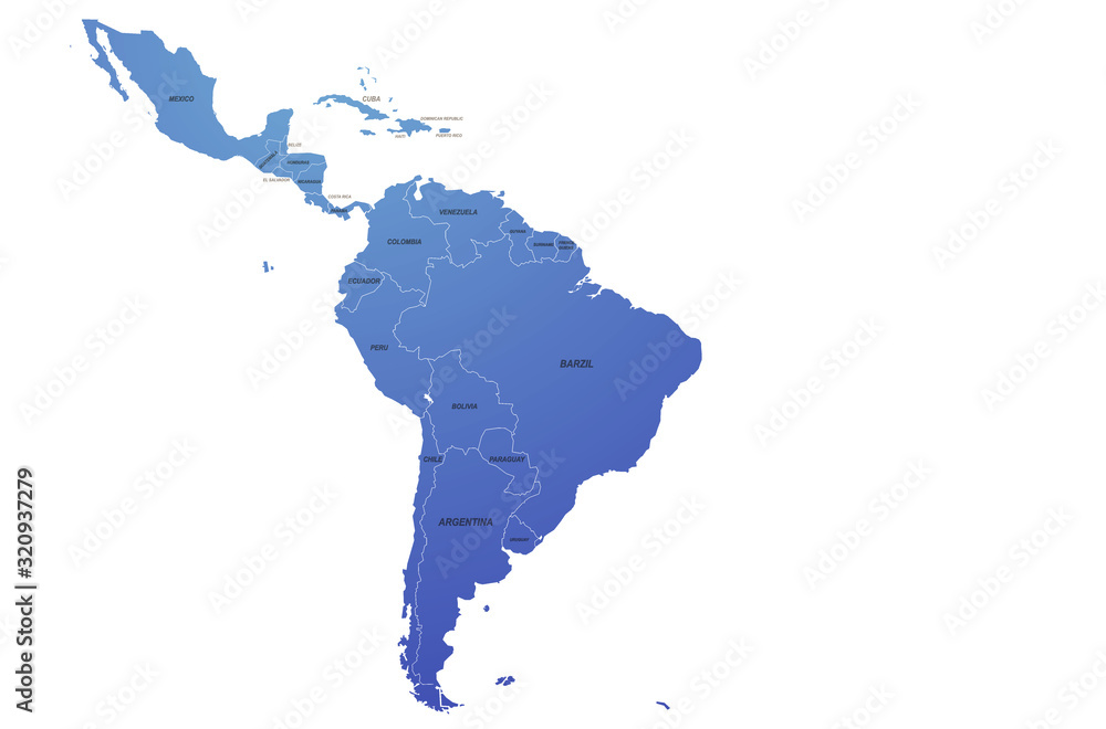 Fototapeta south america map of the world by region. graphic design world map. latin american map.