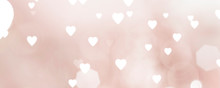 Panoramic - Pink Wallpaper With Unfocused Hearts