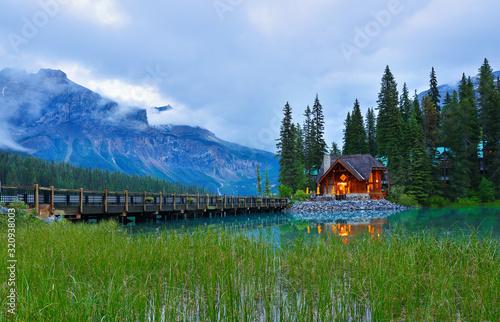 Fototapeta Overview of Emerald Lake after sunset, Yoho National Park, British Columbia,