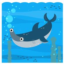 Cartoon Underwater Scene With Swimming Coral Reef Fish - Illustration