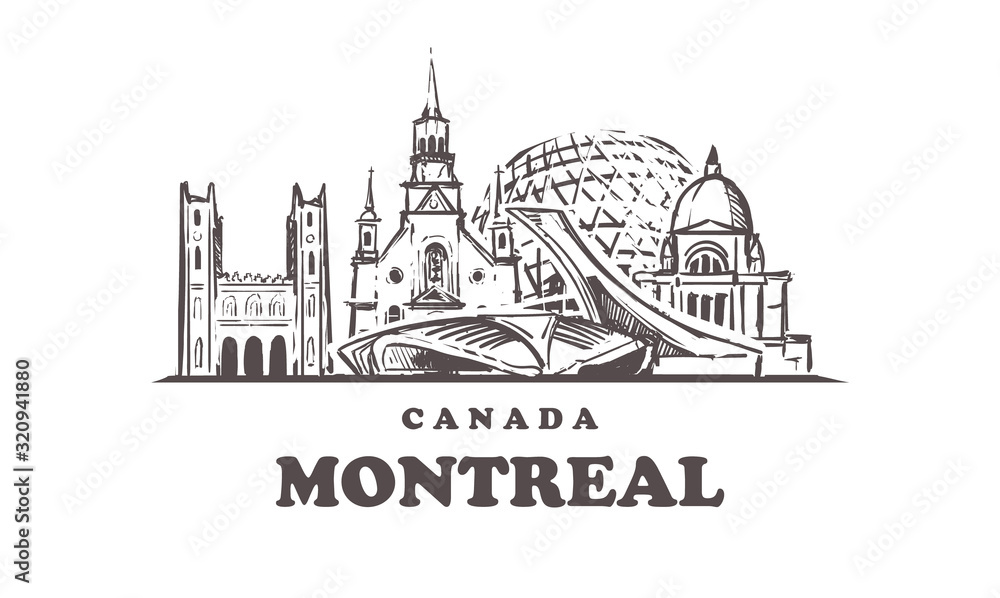 Fototapeta Montreal sketch skyline. Canada, Montreal hand drawn vector illustration.