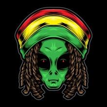 Reggae Alien Head Vector Illus...