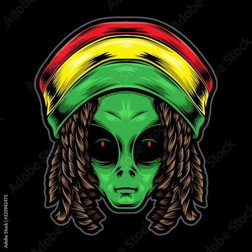 reggae alien head vector illustration Wallpaper Mural