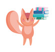 back to school education squirrel with stacked books
