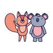 cute squirrel and koala cartoon on white background