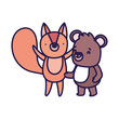 little teddy bear and squirrel cartoon character on white background