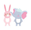 little elephant and rabbit cartoon character on white background