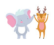 little elephant and deer cartoon character on white background