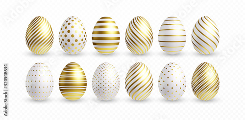 Set of different 3D realistic, shiny, golden, holographic Easter eggs isolated on white background. Vector illustration