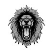 gray color lion roars illustration, lion mascot logo