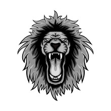 Gray Color Lion Roars Illustra...