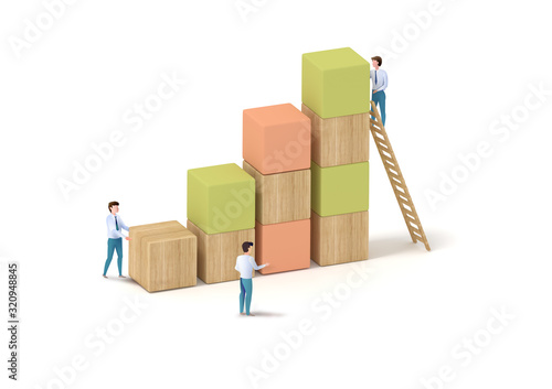 Canvas Print ビジネス ブロック 成功 Block success image