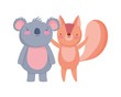 cute squirrel and koala cartoon on white background