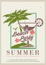 Summer Beach Party Vector Retro Poster Design Template