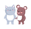 little cat and teddy bear cartoon character on white background
