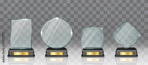 Cuadros en Lienzo Realistic glass acrylic trophy award set, vector isolated illustration