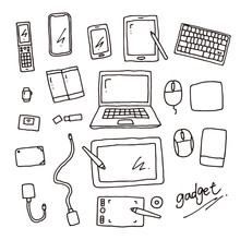 Hand Drawn Gadget Line Drawing Vector Illustration