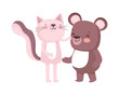 little pink cat and teddy bear cartoon character on white background