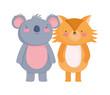 happy cute koala and fox cartoon character