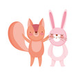 little rabbit and squirrel cartoon character on white background