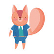 cute squirrel with clothes cartoon character on white background