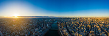 Aerial Panorama View By Drone Of Tokyo Cityscape On Sunrise.  In Tokyo, Japan.