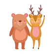 cute deer and bear cartoon on white background