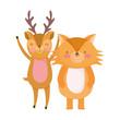 cute deer and fox cartoon on white background