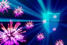 ウイルス感染症と予防・ガード・セーフティの抽象イメージ