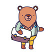 back to school education cute bear with bag and clothes