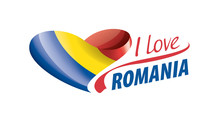 National Flag Of The Romania In The Shape Of A Heart And The Inscription I Love Romania. Vector Illustration