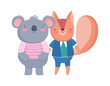 cute koala and squirrel with clothes cartoon on white background