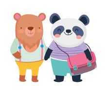 Back To School Education Cute Panda With Backpack And Bear